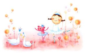 描画, 途方もなく, 幼年時代, 動物, 女の子, 白鳥, おさげ, ダンス