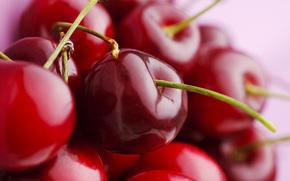 макро, черешня, ягода, красная, спелая, красивая, сочная