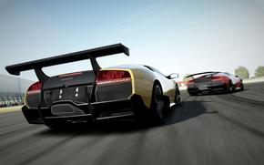 game, Lamborghini, Lamborghini, rate, spoiler, Two, yellow, red, machinery, Supercar, track, track