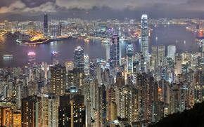 cidade, belo, escuro, vechetny, noite, construo, casa, alto, andar, gua, mar, cu, nuvens, luzes, brilhante, janela, portas, Navios, navio, na distncia, alto arranha-