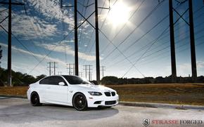 BMW, bianco, Pilastri, sole, BMW