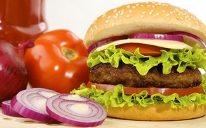 hamburger, fast food, roll, tomatoes, cutlet, cheese, onion, lettuce