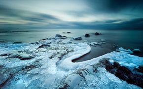 mare, inverno, tramonto, ghiaccio, natura, paesaggio