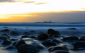 noche, mar, faro, piedras, Naturaleza, paisaje