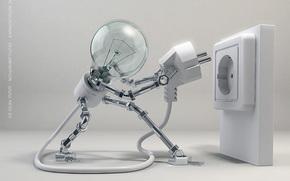 лампа, розетка, вкл