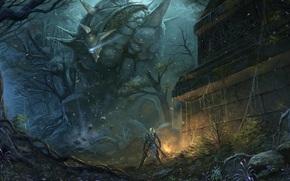 арт, фэнтези, человек, руины, лес, оружие, гигант, существо, голем, меч