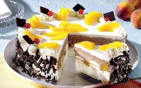 еда, пища, сладости, десерт, вкусно, торт, фрукты, персик, дольки, желтый