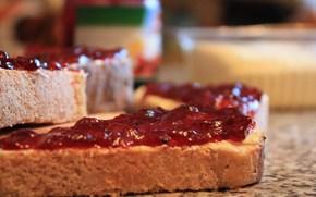 еда, бутерброд, хлеб, начинка, ягоды, варенье, вкусно, макро