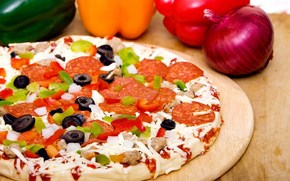 еда, пища, пицца, вкусно, оливки, лук, колбаса, грибы, перец