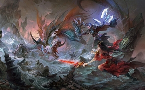 Art, battle, dragon, rocks, sword, guy, girl, river