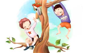 picture, children, fun, tree, nesting box, branch, foliage