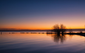 sunset, lake, nature, landscape