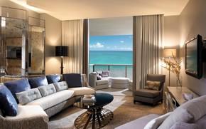 интерьер, стиль, дизайн, бежевый, комната, гостиная, балкон, вид, океан, диваны, кресла, столик, подушки