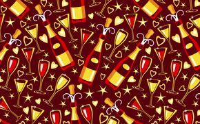 holiday, texture, goblet, glasses, Bottles, Champagne, vinous, vector, Star, Hearts