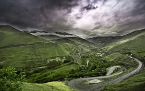 nature, Mountains, Hills, road, Trees, greens, clouds