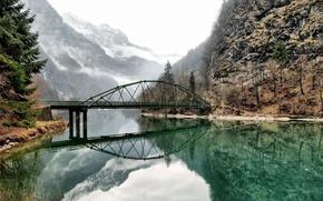 Montagne, Rocks, fiume, ponte, riflessione