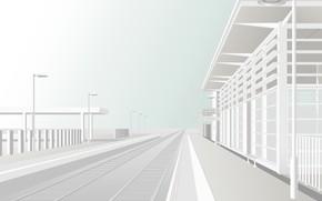Station, platform, way, vector, white