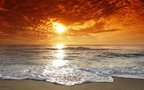 beach, coast, sea, ocean, waves, water, flow, sunset, sun, sky, clouds, horizon, landscape, natural