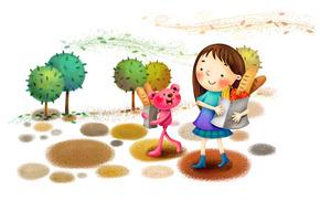 рисунок, девочка, зверёк, парк, деревья, ветер, фрукты, хлеб, сапожки, улыбка