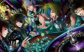 Art, casino, boys, game, roulette, Chips, cards, headphones, glasses, Tattoo, goblet