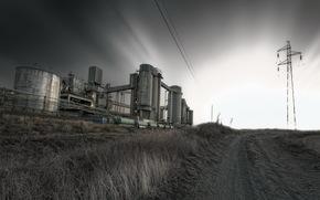 road, factory, night, column