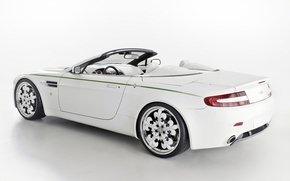 阿斯顿·马丁, vantazh, 敞篷跑车, 白, 后视图, 调音, 驱动器, 背景, Aston Martin