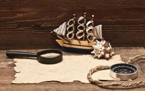 bussola, corda, manoscritto, lente d'ingrandimento, modello