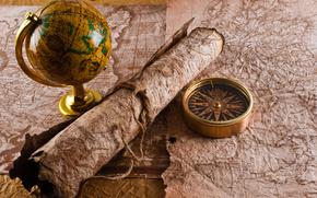 bussola, manoscritto, corda, mappa, globo