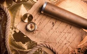 compass, manuscript, rope, map