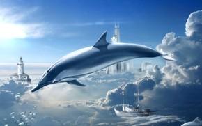delfino, nuvole, cielo, sogni