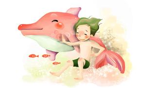 disegno, sott'acqua, bambino, ragazzo, delfino, sorriso, pesce, pikosnovenie