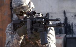soldat, camouflage, Arme, automatique, Tireur