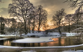 nature, landscape, season, in winter, view, color, snow, ice, clouds, sky, sunset, tree, Trees, River, Beautiful, cool, well