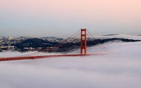 puente, niebla, Puente en la niebla