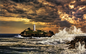sea, waves, clouds, lighthouse