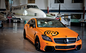 Mercedes, Car, machinery, Tuning, plane, orange, hangar, mercedes