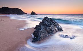 берег, песок, камень, скала, море, закат, сумерки, португалия