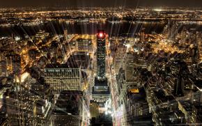citt, New Yor, notte, semaforo, luce, raggi