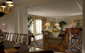 living room, room, window, furniture, Lamp, carpet, sofa, Flowers