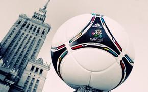 ракурс, футбол, мяч, кожа, евро, польша, Варшава, Сталинская высотка, постройка, часы, башня, многоэтажка, окна, украина, здание, фирма, логотип, знак, эмблема