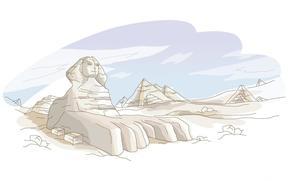 Giza, Egitto, disegno, sfinge, piramidi