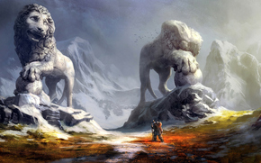 guerriero, Montagne, Statue
