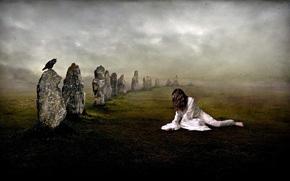 女孩, 土地, 石头, 乌鸦, 白, 服装, 雾, 乌鸦, 黑暗