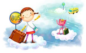 рисунок, девочка, зверёк, фантазия, улыбки, облака, автобус, чемодан