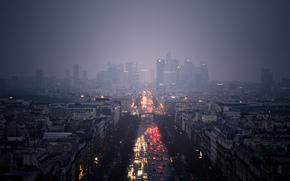 город, небоскребы, облака, пасмурно, дождь, дорога, машины, огни