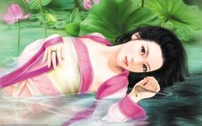 девушка, вода, азиатка