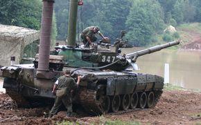 Т-80, переправа, река