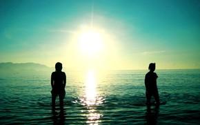 море, солнце, волны, обои