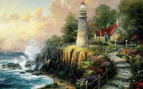 托马斯·金凯德, 艺术, 画, 海, 波浪, 打破, 灯塔, 房子, 茅屋, каменная, 追踪, 阶段, 性质