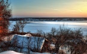 tramonto, inverno, fiume, casa, tetto, paesaggio
